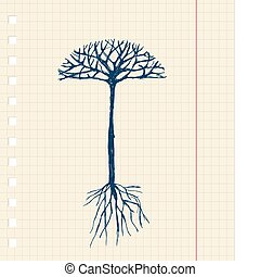 disegno, schizzo, albero, tuo, radici