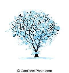 disegno, schizzo, inverno albero, tuo