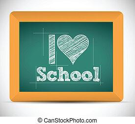 disegno, scuola, amore, messaggio, illustrazione