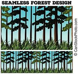 disegno, seamless, fondo, foresta