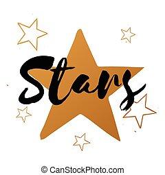 disegno, set, oro, manifesto, scheda, stella, augurio, testo, vettore, stampa, stelle, grande, nero, spedizione, bandiera