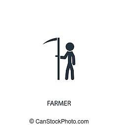 disegno, simbolo, mobile., icon., giardinaggio, semplice, illustration., usato, contadino, elemento, falce, vettore, essere, agricoltura, lattina, collection., web
