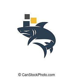 disegno, squalo, pixel, logotipo, tecnologia, vettore, isolato, sagoma