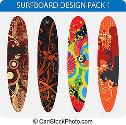 disegno, surfboard, pacco