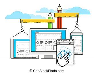 disegno, sviluppo, web, vettore, illustrazione, concept.