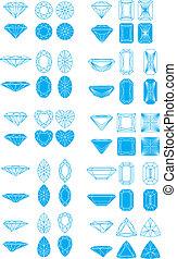 disegno, taglio, elementi, set, diamante