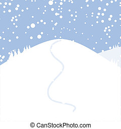disegno, tuo, paesaggio, inverno