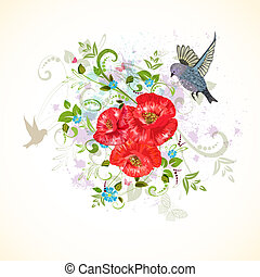 disegno uccello, romantico, papaveri