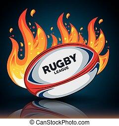 disegno, uggia, palla, rugby, fiamme