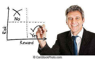disegno, uomo affari, risk-reward, diagramma