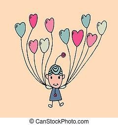 disegno, uomo, cartone animato, con, cuore