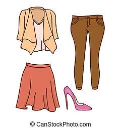 disegno, vestiti donne, completo
