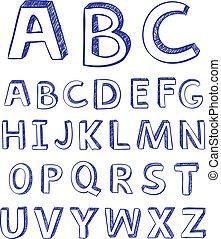 disegno, vettore, alphabet., disegno, mano