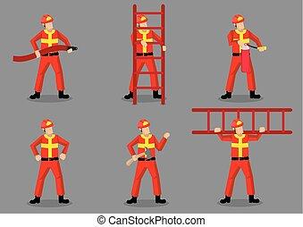 disegno, vettore, carattere, illustrazione, pompiere