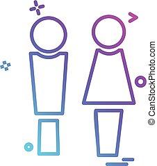 disegno, vettore, maschio, femmina, icona