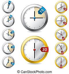 disegno, vettore, set, timer
