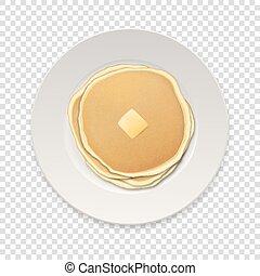 disegno, vista., sagoma, menu, cima, isolato, frittelle, fondo, piastra bianca, cibo, illustrazione, homestyle, griglia, colazione, burro, realistico, vettore, trasparenza, closeup, pezzo, concept.