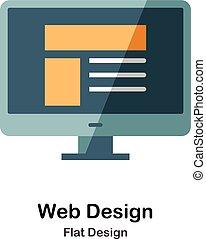 disegno web, appartamento, icona