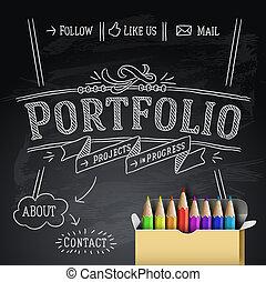 disegno web, portafoglio, sagoma