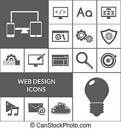 disegno web, set, nero, icone