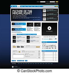 disegno web, sito web, elemento, vettore