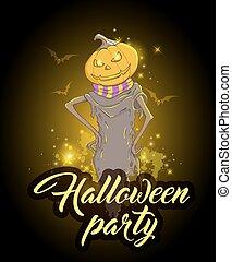 disegno, zucca,  Halloween, festa