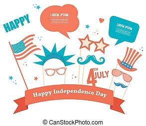 disfraz, accesorios, para, día de independencia, de, américa