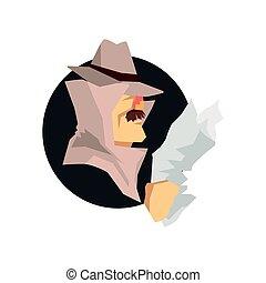 disfrazado, detective, carácter, llevando, clásico, sombrero de sombrero de fieltro, avatar