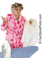 Disgruntled Housewife - Disgruntled housewife ironing...