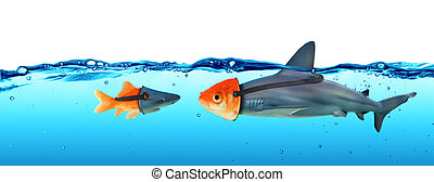 Disguise Between Shark And Goldfish - Deception Concept -...