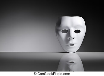 Disguise - White plastic mask on reflective surface.