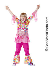 Disguised young girl smiles and holds hands up