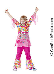 Disguised young girl smiles and holds thumbs up