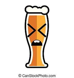 Disgusted beer cartoon character