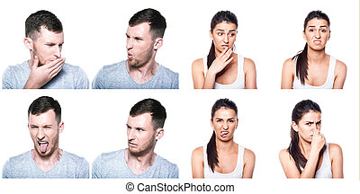 Disgusted boy and girl composite