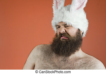 Disgusted Bunny Man - Disgusted bearded fat man wears silly ...