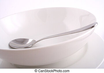 Dish and Spoon - Soup Spoon,  Empty Bowl and Plate