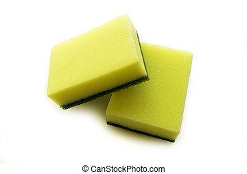 Dish cleaning sponge on white background