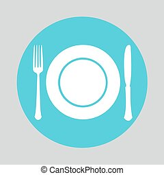 Dish fork and knife icon