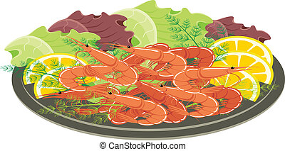 Dish from shrimps and vegetables