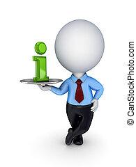 dish., informazioni, simbolo, persona, 3d, piccolo
