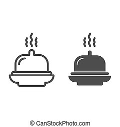 Dish line and glyph icon. Tray vector illustration isolated on white. Hotel breakfast outline style design, designed for web and app. Eps 10.