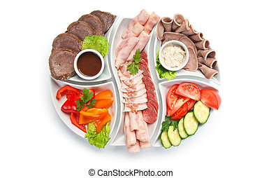 assorted sausages and vegetables - dish of assorted sausages...