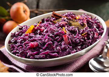Dish of braised red cabbage and apple for a delicious savory...