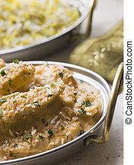 Dish of Chicken Pasanda with Pilau
