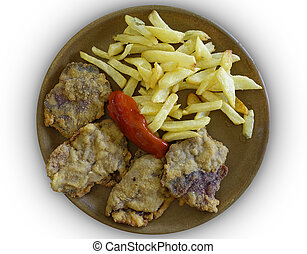 Dish of chitterlings with chips and pepper