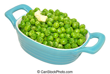 Dish Of Cooked Peas - Cooked peas in a blue ceramic dish...
