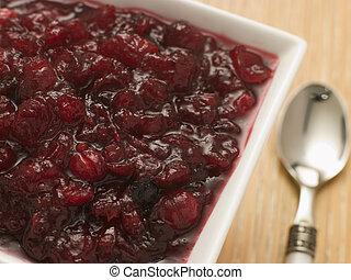Dish of Cranberry Sauce