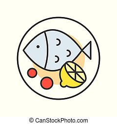 dish of fish lemon, Chinese food, gastronomy set, filled outline icon