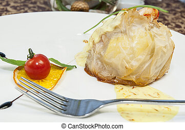 dish of Italian cuisine on the table in a restaurant